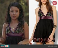 Mariana's black embroidered romper on The Fosters.  Outfit Details: http://wornontv.net/45076/ #TheFosters
