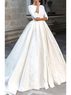 Elegant Prom Dresses, Backless Long Sleeve Ivory Wedding Dresses Modest 3 4 Sleeve Wedding Gowns Shop for La Femme prom dresses. Elegant long designer gowns, sexy cocktail dresses, short semi-formal dresses, and party dresses. Wedding Dress Empire, Boho Wedding Dress With Sleeves, How To Dress For A Wedding, Western Wedding Dresses, Dream Wedding Dresses, Modest Wedding Gowns, Plus Size Prom Dresses, Modest Dresses, Backless Dresses