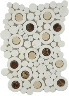 Optimal Coverings  Bubble Series, Circles, Thassos White with Crema Marfil & Dark Emperador Dots, Polished, White, Stone