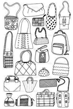 Fashion drawing bag handbags 31 Ideas for 2019 Doodle Sketch, Doodle Drawings, Doodle Lettering, Hand Lettering, Doodle Bags, Coloring Books, Coloring Pages, Drawing Bag, Illustration Mode