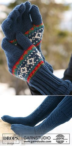 Ravelry: 47-1 Norwegian Sweater with Snow Crystals. Headband, hat, gloves and socks. pattern by DROPS design