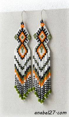 seed bead earrings #beadwork #jewelry
