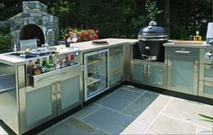 Danver Polymer Outdoor Cabinets with Kamado Grill and Glass Front Outdoor Rated Refrigerator