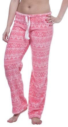 6d64f2d700a8 Women s Warm and Cozy Plush Pajama Lounge Pants - Pink Fair Isle -  CN17YY6GHCL
