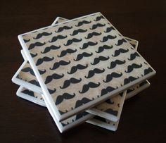 Moustache Tile Coasters  Millions of Moustaches by MichyCreations, $12.00