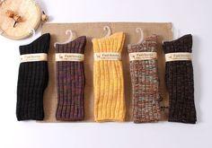 Di alta qualità colorati filati di cotone caldo autunno inverno addensato maglia termica delle donne delle signore di marca lungo harajuku sciolto calzini avvio