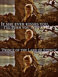 Jareth from Labyrinth. the worst joke ever, and yet, he makes it rather funny. And that face at the end David Bowie Labyrinth, Labyrinth 1986, Labyrinth Movie, Jareth Labyrinth, Labyrinth Quotes, Jim Henson Labyrinth, Labrynth, Great Movies, Awesome Movies