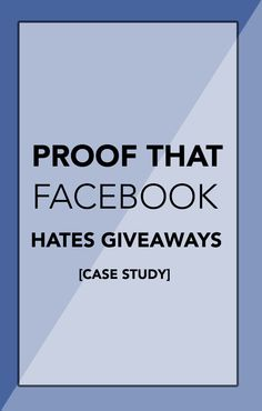 FASCINATING! This case study follows a one week promotion on Facebook and proves that FB reach for giveaways is MUCH lower than regular status updates!