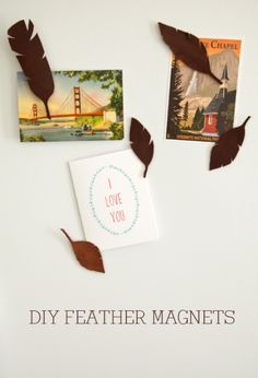 boxwood clippings_diy feather magnets. Leather feathers with clothespin backs.
