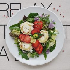 Wild Herbs with Goat Cheese and Strawberries
