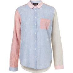 Casual Contrast Stripe Shirt ($60) via Polyvore