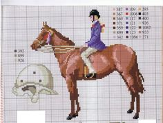 0 point de croix femme cheval équitation - cross stitch horse riding lady