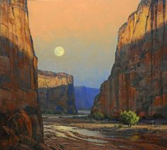 """Moonrise, Canyon de Chelly,"" Robert Peters, 36x40, oil on canvas"