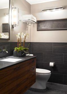 Bathroom Features Floating Teak Vanity, Limestone Surfaces