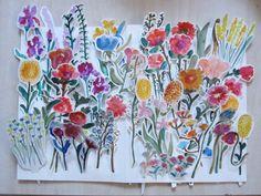 watercolor cut paper flowers