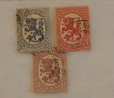 3 Vintage Suomi Lion Stamps, 1920s Era, Blue 2 m, Red 20, and Purple 60 Finnish Finland by MendozamVintage on Etsy