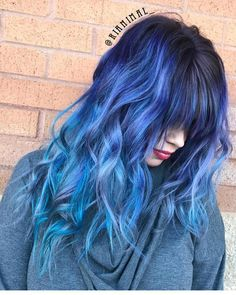 blue color melt balayage straight across bangs by @rianimal_
