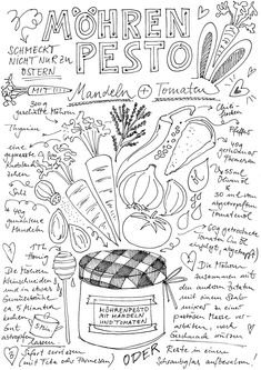 """Recipe for carrot pesto - Recipe Doodle on """"Fairy is my name"""" - Marina Diy & Crafts Pesto Dip, Shot Recipes, Sketch Notes, Carrot Recipes, Pesto Recipe, Printing Labels, Food Illustrations, Recipe Cards, Hand Lettering"""