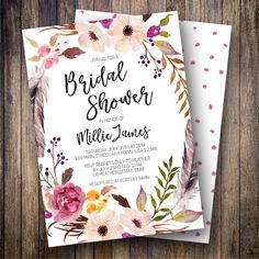 Rustic Bridal Shower Invitation, Watercolor Flowers, Boho Wedding Shower, Feathers, Wine, Green, Dusty Pink, Orange, 906 - Spotted Gum Design - Etsy