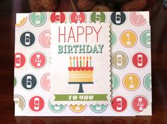 Handmade Birthday Day Card, Cake, Candles, Numbers, Retro Style, Blank Inside, Unique, One of a Kind, Free Shipping by TresorValeur on Etsy