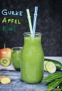 Grüner Gurke-Apfel-Kiwi-Smoothie