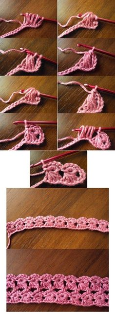Irish crochet &: BROOMSTICK LACE STITCH   I think this would be pretty as a border. I can see it being used on a belt or a headband.