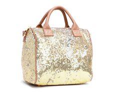 "Honeymoon luggage - Felix Sequin duffle -10""x7""x9.5""  SELECT COLOR: BLUSH  Price: $66.00"