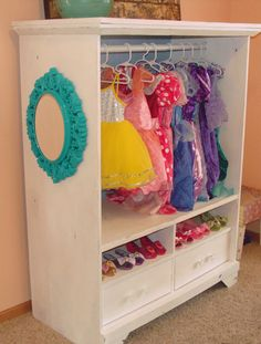 Dress up cabinet from an entertainment center