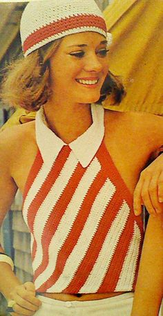 Vintage Crochet Halter and Cap Pattern by MAMASPATTERNS on Etsy, $3.50