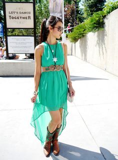 This Green Hi Lo Dress Is Paired With Ariat Style Cowboy Boots A Woven