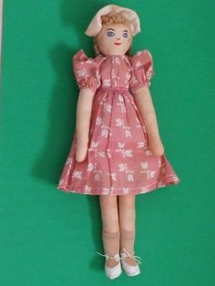 Vintage 1940's Folk Art Rag Doll Fashion Dolls Handmade Cloth Dolls