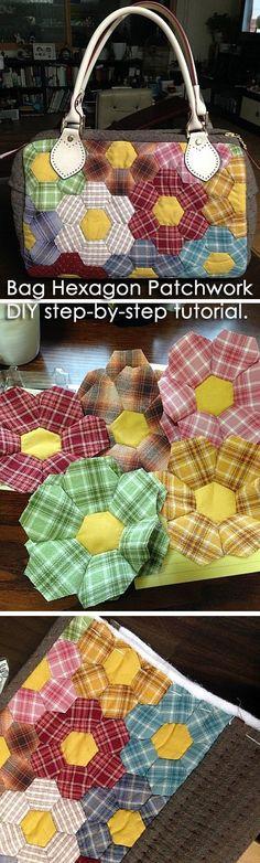 Bag Hexagon Patchwork   DIY step-by-step tutorial. Aren't those plaids cute?  http://www.handmadiya.com/2015/08/bag-hexagon-patchwork.html