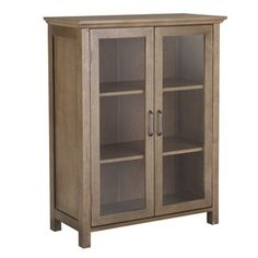 @Overstock - This cabinet features an attractive espresso finish and offers sleek lines for a traditional feel. The glass doors are accented with grid-work design and beveled molding. Antique brass finished door knobs give this cabinet a classic look.http://www.overstock.com/Home-Garden/Louis-2-Door-Floor-Cabinet/7211326/product.html?CID=214117 $121.49