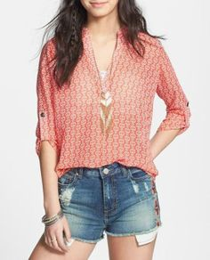 Cute coral print shirt for the weekend.