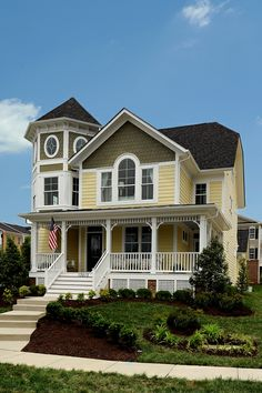 I love old victorian homes and this one is like a modern version of one. So pretty!