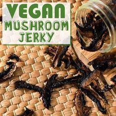Jerky Recipes, Oven Recipes, Mushroom Jerky Recipe, Jerky Dehydrator, Beef Jerkey, Vegan Beef, Complete Recipe, Yummy Eats, Vegan Snacks