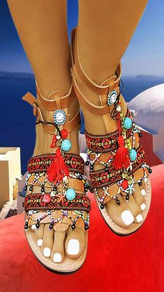 Luxury Ancient Greek Leather Sandals Roman Spartan Ethnic Boho Wedges Mules and Platforms Handmade to Order