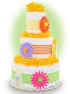 diaper cake idea. This is really cute for a spring or summer baby shower.