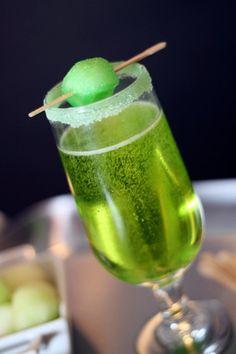 Sparkling Shamrock - champagne or sparkling wine and melon liqueur.