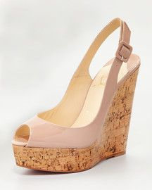 I just bought Christian Louboutin Une Plume Slingback Cork Platform in nude.