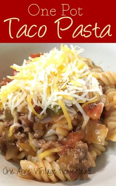 Easy to make and clean up with this One Pot Taco Pasta made with ground beef, salsa, and pasta from One Acre Vintage Homestead #onepotmeals #tacopasta