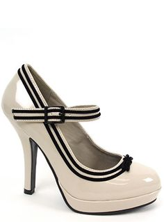 Cream Patent Pin-Up Heels by Pin-Up Couture, Cream