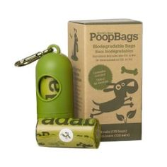 Earth Rated biodegradable, lavender scented PoopBags. Sturdy little dispenser, sturdy bags. Highly recommend.