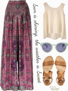 Ladies adorable summer outfit love this pants and sandals