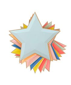 "- Set of 8 plates - Paper - 8"" wide - 8 assorted color - Star shape plate - Silver foil edge"