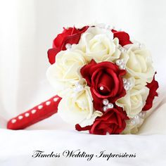 TWI NEW ITEM!! Wedding Bouquet Red Roses Silk Bridal Pearls White Christmas Flowers Real Touch