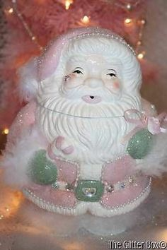 Shabby Cottage Chic Christmas Decorations Vintage Santa Cookie Jar Pink White | eBay
