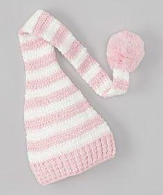 Look at this #zulilyfind! Pink & White Stripe Knit Elf Pom-Pom Beanie #zulilyfinds