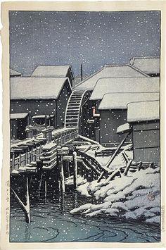 Hasui Kawase: Snow at Sekiguch (1932)