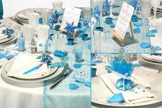 Décorations d'ambiance table mariage bleu aquarelle - e-options.net Communion, Deco Table, Table Decorations, How To Plan, Tables, Wedding Ideas, Home Decor, Quirky Wedding, Mesas